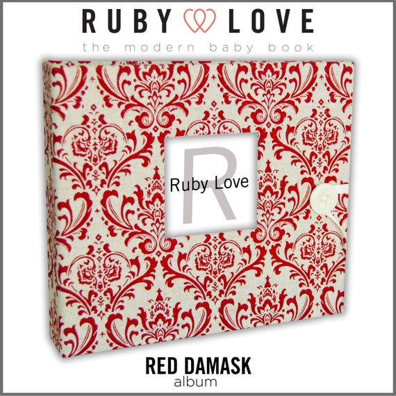 Baby Book . Baby Memory Book . RED DAMASK Album . Ruby Love Baby Memory Book with Calendar