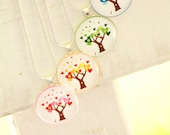 Love in Bloom Collection - Green Spring, Red Summer, Yellow Autumn, Blue Winter - Circle Glass Tile Pendant - LISTING FOR ONE