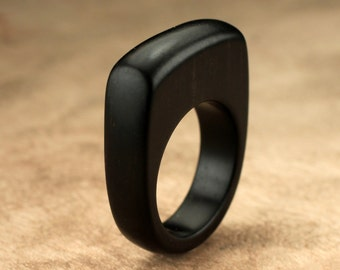 Tall Top Ebony Wood Ring