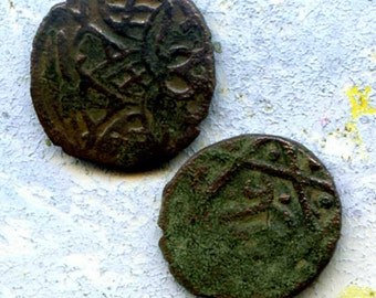 2 UNCLEANED coins from a dig,antique objects, something  curious, antique metal coin, coolvintage, collectibles, patina, old, age, 7K L