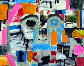 """Original Abstract Mixed Media Collage """" Don't Think"""""""