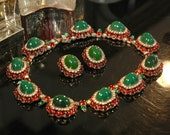 Reserved for C — Hattie Carnegie Holiday Set, Mogul Style, Red Green Oval Links, Riviera Necklace, Earrings, Gripoix Glass, Mint Condition