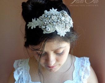 Bridal headband, bridal headpiece, crystal headpiece, sparkle veil, diamonte veil, Art Deco veil,