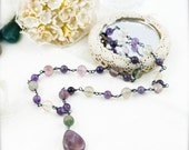 Charisma and tranquil necklace -  fluorite and amethyst