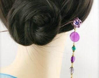 Purple blossom hair stick (HS) - jade and quartzite