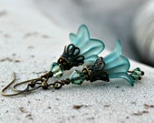 Frosted Teal Bohemian Flower Earrings, Swarovski Crystal, Antique Brass, Dangle Flower Earrings, Gift for Her