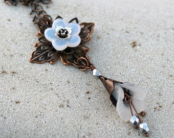 Long Chain Bohemian Necklace - White, Flower, Antique Copper, Woodland, Winter, Autumn, Fall, Gift for Her, Czech Glass, Charm