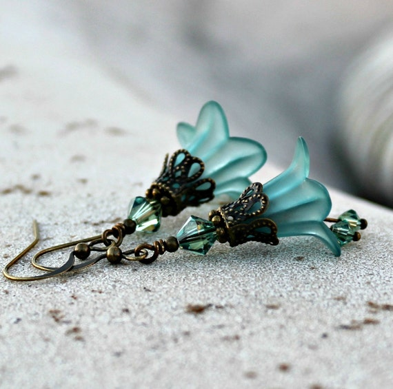 Frosted Teal Lucite Flower Earrings, Bohemian, Swarovski Crystal Dangles, Antique Brass, Dangle Flower Earrings, Gift for Her