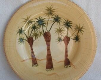 Funky Retro Vintage Boulevard Tabletops Handpainted Hollywood Regency Beach Chic Palm Tree Plate