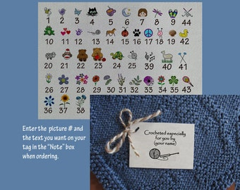 Personalized crochet gift tags