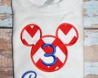 Chevron Mickey Mouse Age Applique Shirt, Boys Mickey Mouse Shirt