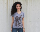Ladies Camel on a Bike American Apparel T Shirt