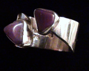 Wide Ring Amethyst Natural Rock You and Me Ring  on 925  Sterlng Silver High Collectible Made By Lilly Barrack Size 6 1/2