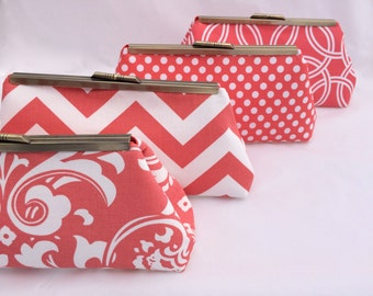 Bridesmaids Gift bag Coral Bridesmaids Handbag Custom Gift Clutch- Custom Design your Own Wedding Party gift in various patterns and colors