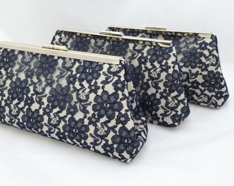 Navy Lace Clutch Bridesmaids Gift Handbag/ Clutch Custom Made for Bridesmaids Design your own as gift for Wedding Party