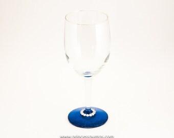 Custom Royal Blue Glitter Wine Glass Glassware w/Rhinestone Accenting