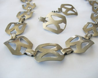 Modernist Necklace Earrings X Silver Brass 1950's