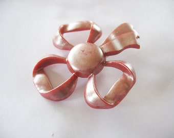 Bow Brooch, Pearly Finish, Red Pearl, Plastic, 1950s, Large Pin, Kitschy