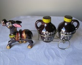 Vintage Napco Donkey Pulling A Cart With Little Brown Jug Salt And Pepper Shakers