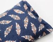 Indigo Blue Meditation Pillow, Boho Chic Colorful Feathers, Relaxation Gift