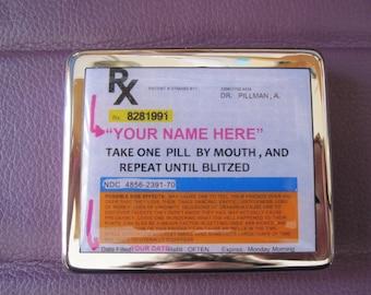 RX Prescription Drug Personalized 8 Day Pill Box With Mirror
