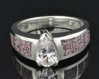 Dinosaur Bone Engagement Ring or Wedding Ring with White Sapphire Center