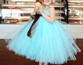 Aqua Blue Flower Girl Tutu Dress with Chocolate Brown Sash