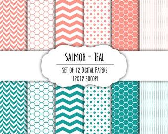 Salmon and Teal Digital Scrapbook Paper 12x12 Pack - Set of 12 - Polka Dots, Chevron, Hexagon - Instant Download - Item# 8182