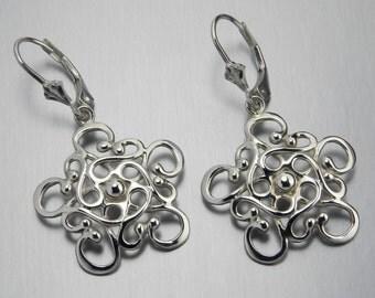 Made In Alaska Northern Star Argentium Sterling Silver Filigree Snowflake Leverback Earrings