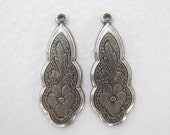Flower Charm Antiqued Silver Ox Etched Pendant Drop Pansy Vintage Style 27mm drp0057 (4)