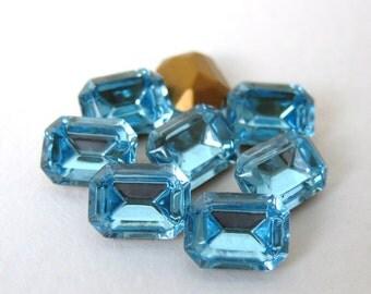 Swarovski Crystal Vintage Rhinestone Aqua Octagon Jewel 8x6mm swa0508 (8)