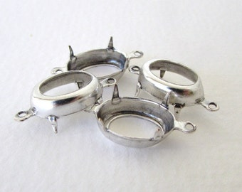 Prong Setting Antiqued Silver Ox Oval Rhinestone 2 Ring Open 14x10mm set0254 (6)