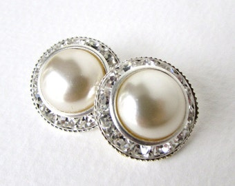 Vintage Glass Rhinestone Buttons Silver Pearl Shank Czech 21mm but0224 (2)