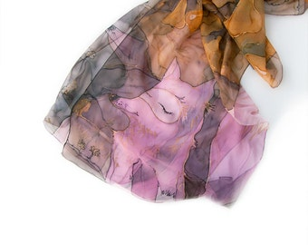Pink foxes hand painted silk scarf/ Foxes scarf/ Animal silk scarf painted/ Silk chiffon scarf handpainted/ Holidays gift/ MADE TO ORDER