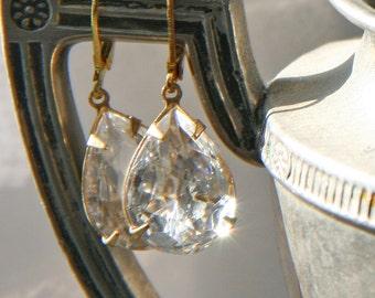 Gold Crystal  Vintage Inspired Drop Rhinestone earrings