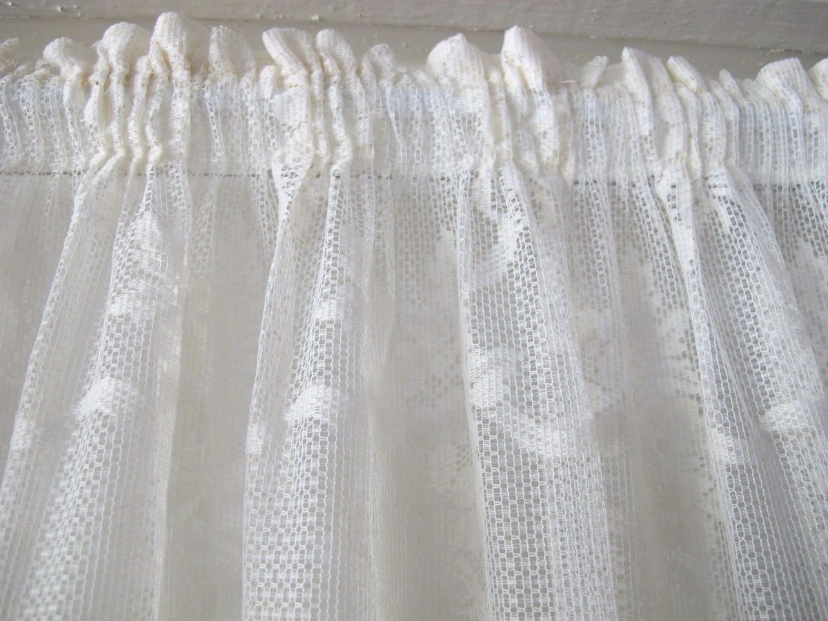 Lace Top And Bottom Rod Curtain Double Rod Pocket Door
