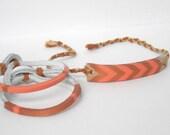Peach & Copper Leather Bracelet Set