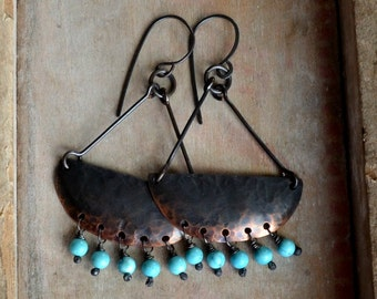 Rustic earrings, gift for her, hammered copper gemstone earrings with howlite beads - Siri