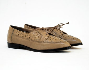 NOS Deadstock Woven Pointed Toe Oxfords In Coffee Latte Leather 5.5