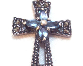 Sterling Silver, Marcasite, Blue Topaz Cross Pendant