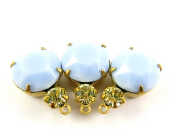 2 - Vintage Round Glass Charms Gem Set Stones 1 Ring  Brass Prong Settings Canary & Light Blue 18x11mm .