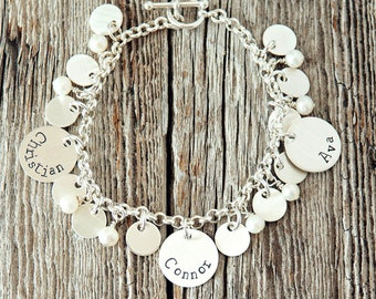 Mother Charm Bracelet, Personalized Charm Bracelet, Custom Charm Bracelets, Custom Bracelet for Mom, Kids Names Bracelets, Sterling Silver