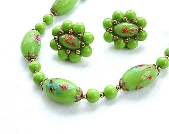 Vintage TRIFARI Signed Glass Bead Handmade Japanese Millefiori Chartreuse Womens Green Necklace Earrings Jewelry Set Demi Parure