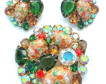 Vintage Juliana Jewelry Set Emerald Green and Orange Glass Easter Egg Rhinestone Statement Jewelry