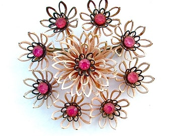 Vintage Multi Pink Rhinestone Lotus Flower Lily Pad Metal Enamel Antique Jewelry
