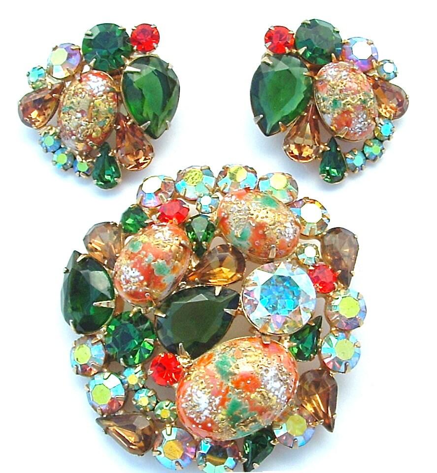 vintage juliana jewelry set emerald green and orange glass