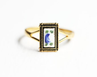 Guilloche Rectangle Flower Ring - Size 7