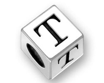 4.5mm Square Letter T bead Sterling Silver, Alphabet Beads