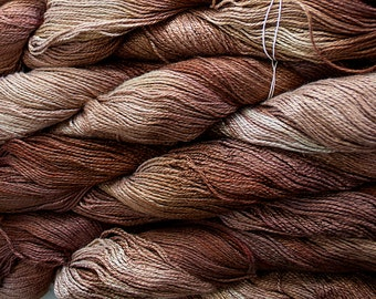 Fine Bamboo, Hand Painted yarn, 300yds - Tea Tonal