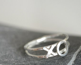 Sterling silver XO ring - hugs and kisses - Made to order